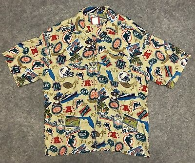 e6048326 MIAMI DOLPHINS NFL Vintage Rayon Hawaiian Shirt Size Mens Xl Camp ...