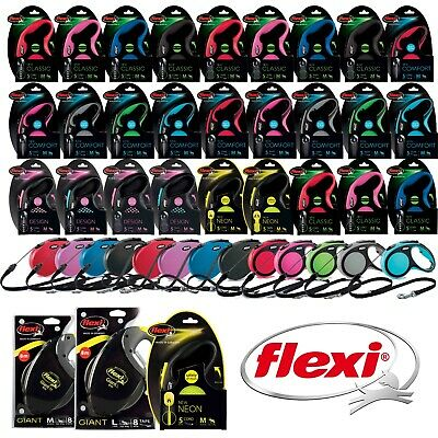 Flexi Dog Lead Retractable Extending 3m 5m 8m 10m Tape Cord Medium Large Giant