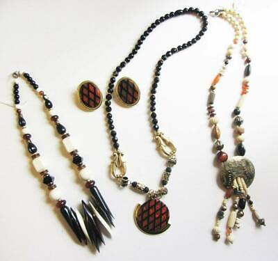 African inspired tribal indian 80's costume jewelry New old stock chunky clip on