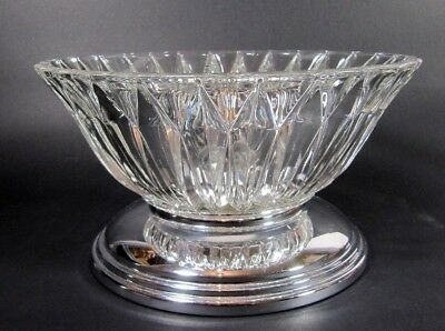 French Art Deco Bowl Chromed Pressed Crystal Glass Fruit Tazza Centerpiece