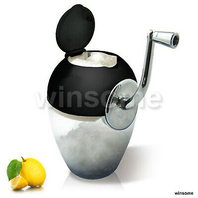1ltr Manual Ice Crusher Mirrored Bowl Scoop Cocktail Black Top & Chrome Handle