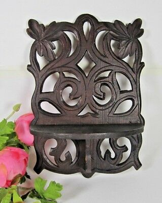 Wall Bracket Shelf French Antique Hand Carved Wood Black Forest Statue Console