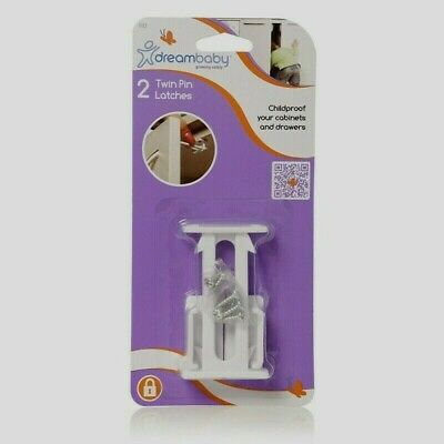 Dreambaby L112 TWIN PIN LATCH Cabinet Drawer Door Child Baby Safety Lock 2pk NEW