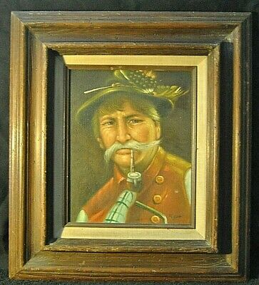 Antique Vintage Man Smoking Pipe Canvas Oil Painting K. FDR Framed