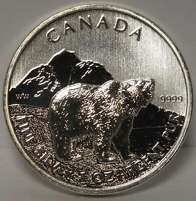 Grizzly Bear 2011 Canada .9999 Silver 1 oz $5 Coin - Wildlife - Canadian - JX858
