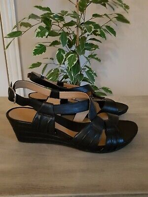 e7e8da9ca Clarks Size 5.5 Black Genuine Leather Wedge Sandals Never Worn Immaculate