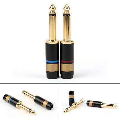 """20PCS Copper 6.5mm 1/4"""" Mono Jack Plug Soldering Connector Gold Plated"""
