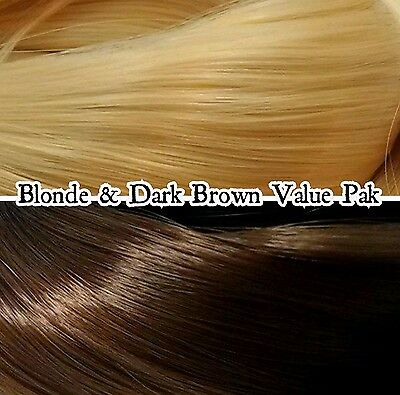 Dark Brown & Blonde 2 Color Value Pak Nylon Doll Hair Reroot Barbie Monster High