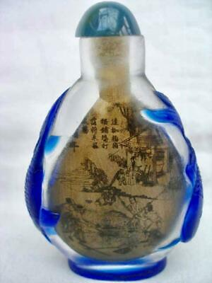Good Signed Chinese Inside Painted Glass Overlay Snuff Bottle.