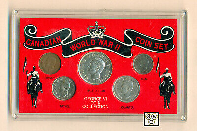 Canadian World War II Coin Set - George VI Coin Collection set of 5 Coins (OOAK)