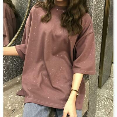 Causal Korean 2019 New Womens Fashion Loose Shiny Short-sleeved T-shirt Tops hot