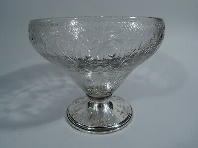 Gorham Bowl - Antique Centerpiece - American Sterling Silver & Crystal Glass