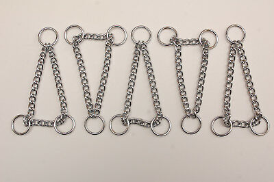 Pack of 5 - Chrome Plated Half Check / Martingale Chains - 16mm Rings