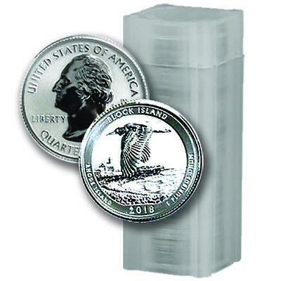 40 Coin Roll - 2018-S Block Island Reverse Proof Silver Quarters - (#10003L)