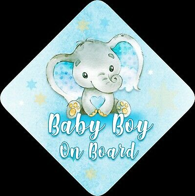 Non Personalised Child / Baby On Board Car Sign ~ Baby Elephant ~ Baby Boy
