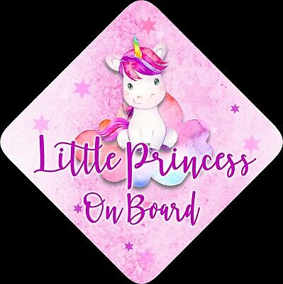 Non Personalised Child / Baby On Board Car Sign ~Little Princess On Board~CPUOC