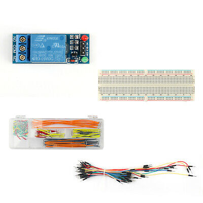 1 Channel DC 5V Relay Switch Module+830 Point Breadboard+Jumper Wires 65+140 Pcs