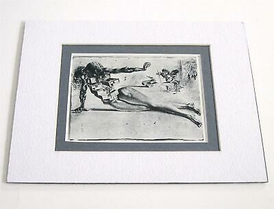 Salvador Dali vintage year 1968 art City of Drawers matted