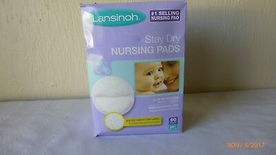 Lansinoh Nursing Pads Stay Dry Quilted Honey Comb Lining Medium 60 ct Disposable