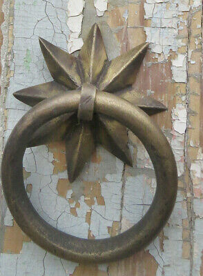 Antique CAST BRONZE not iron STAR Ornate Ring Pull Barn Stall Stable Door Towel
