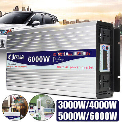 3000-6000W LCD Car Power Inverter DC 12V/24V To AC 220V Pure Sine Wave Converter