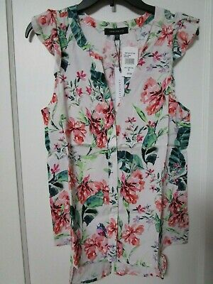 efc43fb7ade48 NWT Women s SANCTUARY White Floral Ruffle Sleeveless Blouse Size Small  -MSRP  79