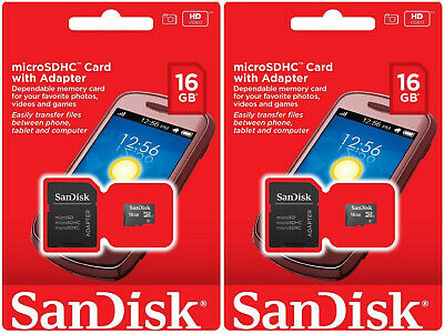 2 x SanDisk 16GB Micro SD SDHC Class 4 TF Flash Memory Card SDSDQM-016G-B35A