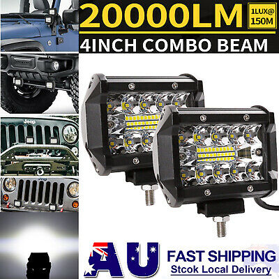 Pair 4inch CREE LED Work Light Bar Spot Flood OffRoad Driving Reverse 4x4 Ford