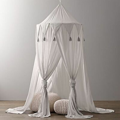 Bed Canopy Round Dome Cotton Mosquito Net Play Tent Nursery Decor Blue Baby Kids
