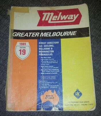Melway - Greater Melbourne Street Directory - 1989 - Edition 19 - Soft Cover .