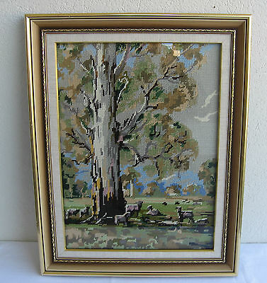 Stunning Hand Stitched Tapestry Art Work Australian Bush Scene Wall Picture