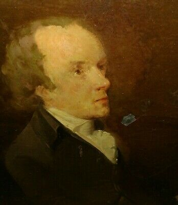 Antique 18/19t 1800s American or English school man portrait oil painting on tin