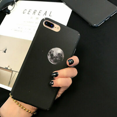 For Iphone 6 6s 7 8 Plus Black Case Planet Fashion Space Hard Shell Phone Case