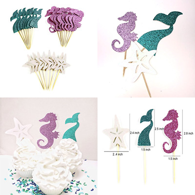 3pcs mermaid party cake topper birthday decorations diy cupcake topper supplieP0