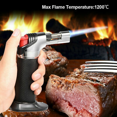 Jet Torch Gun Lighter Gas Trip Flame Windproof Refillable Micro Butane Black GS