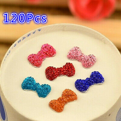 120pcs 7mm*13mm BOW Resin FlatBack scrapbook Appliques/Wedding DIY crafts