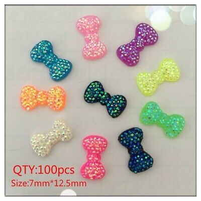 100pcs 7*12.5mm Resin AB Colour Bow Appliques/Wedding decoration /craft DIY