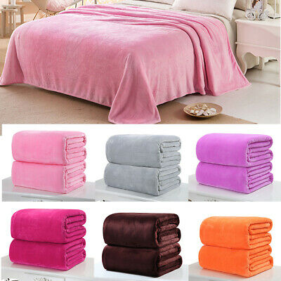 Pure Color Warm Soft Fleece Sofa Single Double Bed Blanket Travel Car Throw Rug