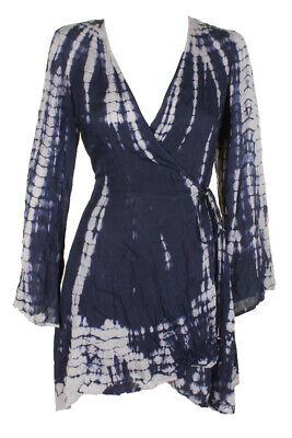 63ba915caf RAVIYA PLUS SIZE Navy Tie-Dyed Long-Sleeve Printed Wrap Dress Cover ...