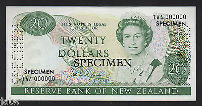 New Zealand  P-173as. (1981-85) $20 - Hardie -SPECIMEN in Black. TAA 000000. UNC