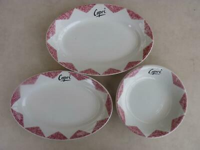 TASMANIA - HOTEL WARE - CAPRI RESTAURANT - SET 2 PLATES AND BOWL - c1920