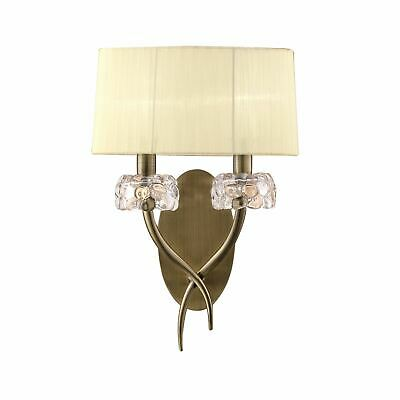 Loewe Wall Lamp Switched 2 Light, Antique Brass With Cream Shade - M4634AB/S