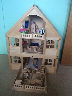 Dolls House wooden, fully furnished and occupied, excellent condition
