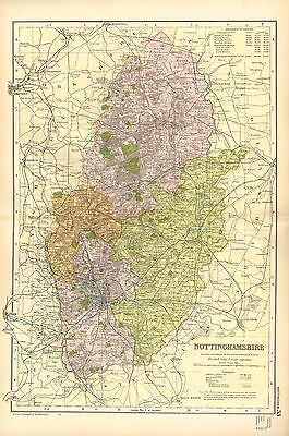 1902 Large Victorian County Map ~ Nottinghamshire Parliamentary Populations