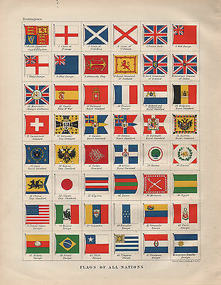 1900 Victorian Print ~ Flags Of Nations France Japan Burma Switzerland Morocco