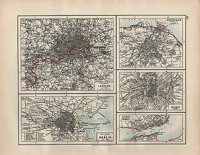 1902 Map ~ Environs Of London Dublin Public Buildings ~ Madrid Edinburgh Lisbon