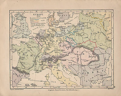 1899 Victorian Double Sided Map ~ Europe 1740 Poland Possessions ~ Rossbach