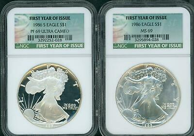 2Coins Set: 1986 & 1986-S Silver Eagle Ngc Ms69 Pf69 Pr69 Special First Year Tag