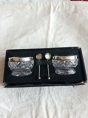 1911 Chester Sterling Salt Dish And Spoon Pair With Original Box Bottom.