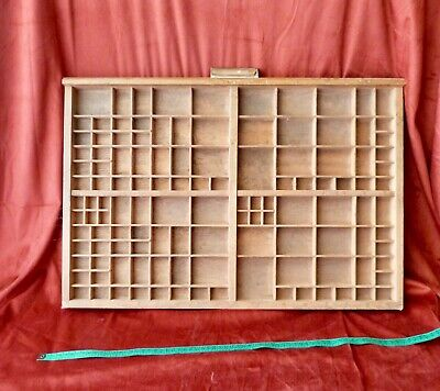 Vintage superb French Printers Tray Rustic Letterpress Type Case Drawer Display